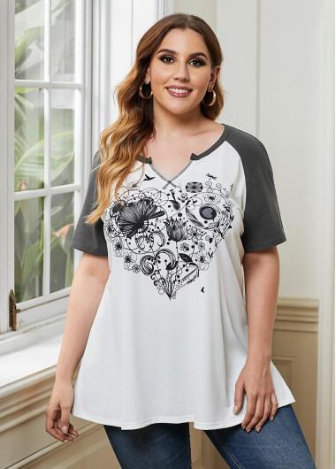 Heart Print Split Neck Plus Size T Shirt - 3X