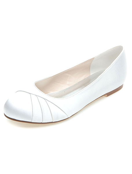 Milanoo White Wedding Shoes Satin Mother Of The Bride Shoes Round Toe Slip On Bridal Shoes