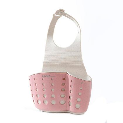 Double-Layer Adjustable Button Type Sink Storage Hanging Basket - Pink