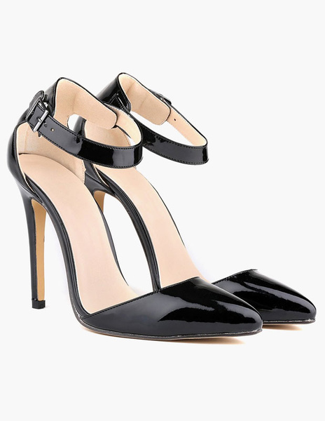 Milanoo Black High Heels Pointed Toe Buckle Detail Ankle Strap Pumps Women Dress Shoes
