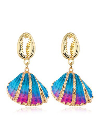 Mother's Day Gifts Seashell Pendant Gold Metal Earrings for Lady - One Size