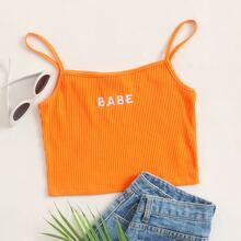 Neon Orange Letter Embroidery Rib-knit Crop Cami Top