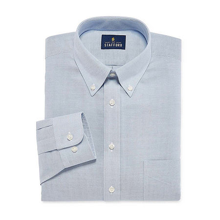 Stafford Mens Wrinkle Free Oxford Button Down Collar Regular Fit Dress Shirt, 17 34-35, Blue