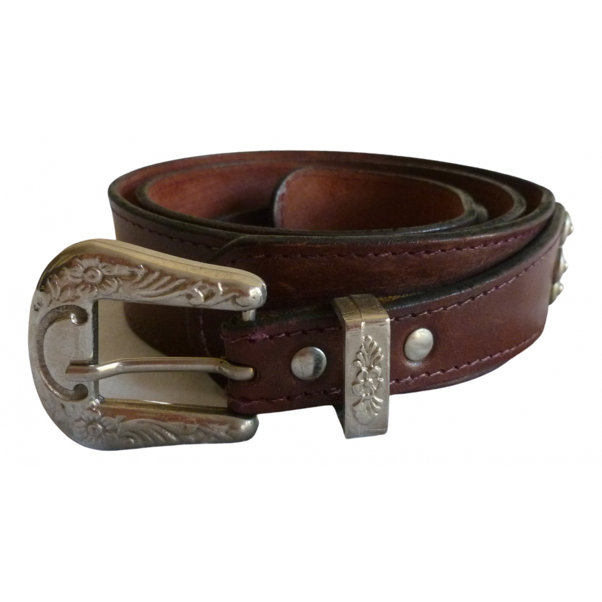 Non Signé / Unsigned \N Burgundy Leather belt for Women 95 cm