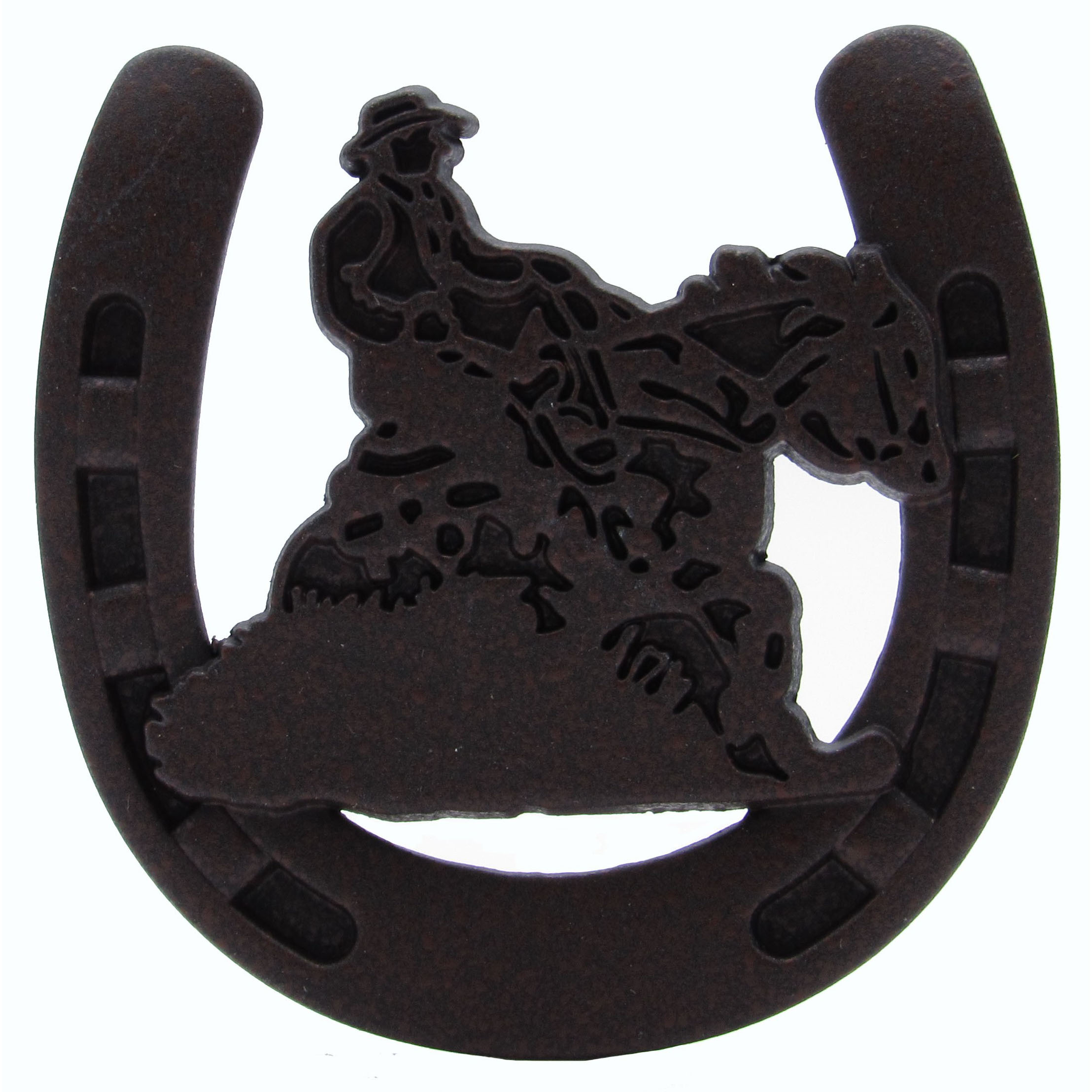 Riding Cowboy Horseshoe Knob, Rust Brown