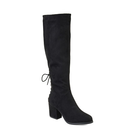 Journee Collection Womens Leeda Extra Wide Calf Riding Boots Block Heel Zip, 8 Medium, Black
