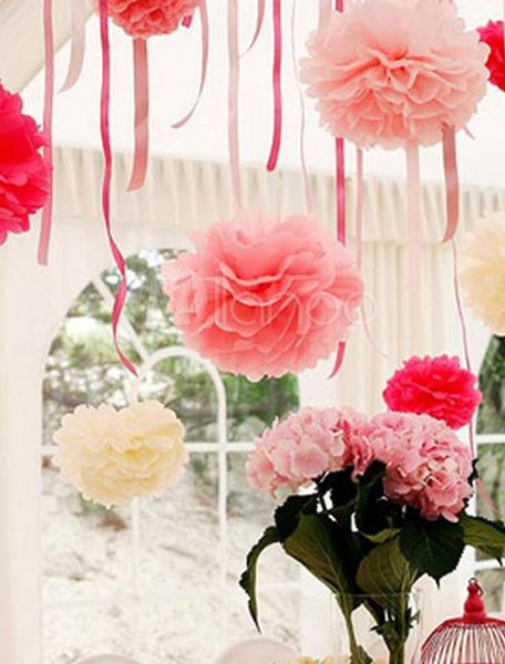 Milanoo Wedding Flower Decoration Flower Ball Paper Ball 5 Piece