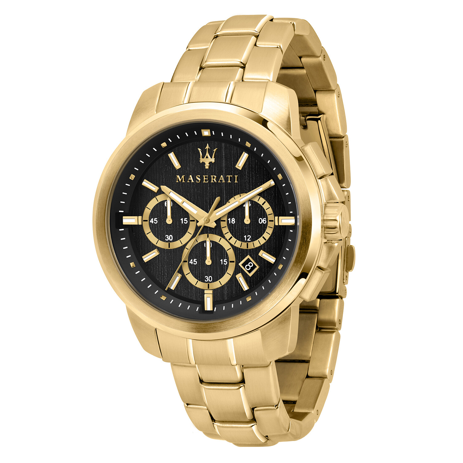 Maserati Watch R8873621013 Successo Chronograph, 24-Hour Time Display, Date Window-Gold / Black
