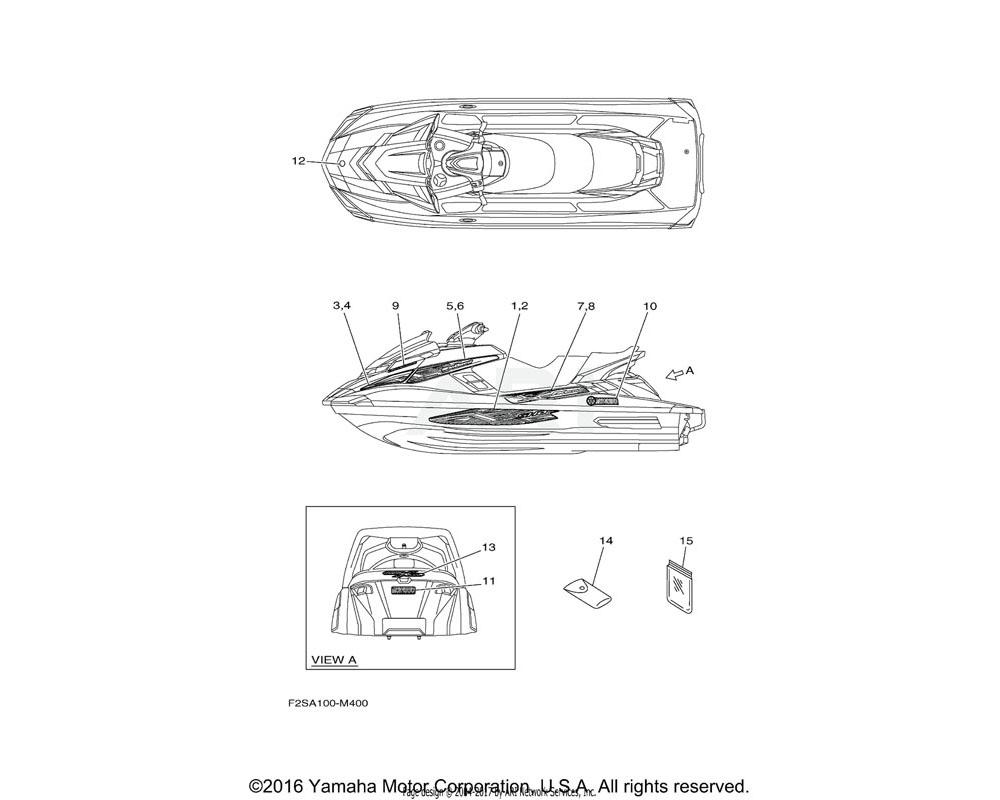 Yamaha OEM F2S-U417G-70-00 GRAPHIC 6 (RH)   FOR BLACK