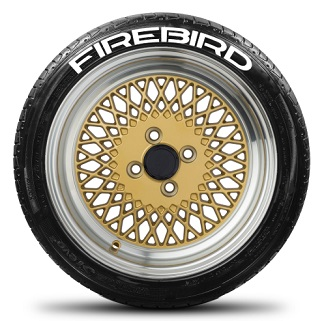 Tire Stickers FIREBIRD-1416-125-4-W Permanent Raised Rubber Lettering 'Firebird' Logo - 4 of each -   14