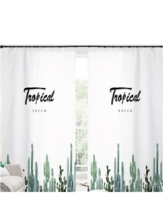 Refreshing Style Concise Green Plants 3D Painted 2 Panels Semi-blackout Curtains