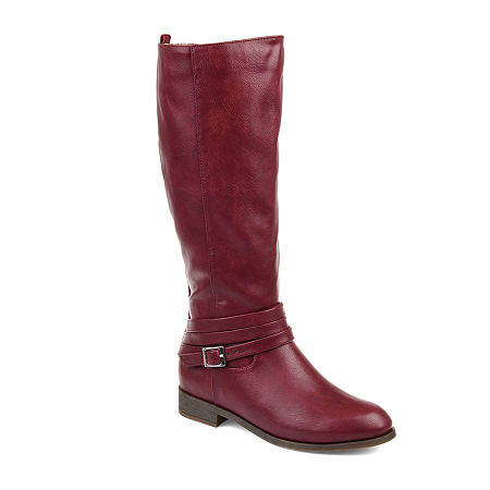 Journee Collection Womens Ivie Xwc Stacked Heel Zip Riding Boots, 7 Extra Wide, Red
