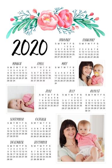 Calendar 20x30 Adhesive Poster, Home Décor -Floral