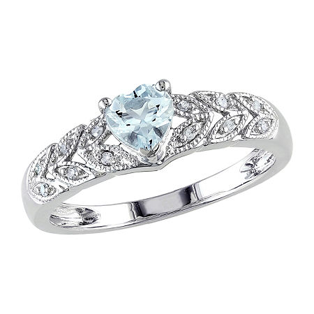 Womens Diamond Accent Genuine Blue Aquamarine Sterling Silver Heart Engagement Ring, 8 1/2 , No Color Family
