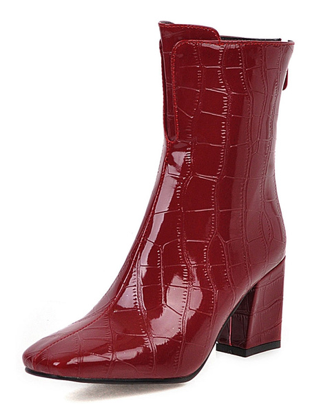 Milanoo Women Ankle Boots Patent Leather Crocodile Print Red Square Toe Chunky Heel 3 Booties