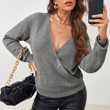 Surplice Neck Drop Shoulder Sweater