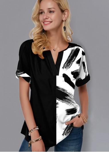 Split Neck Short Sleeve Printed Blouse - M