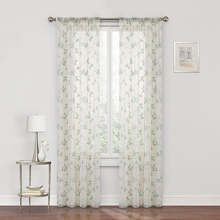 Regal Home Meadow Embroidered Sheer Rod-Pocket Single Curtain Panel, One Size , Green