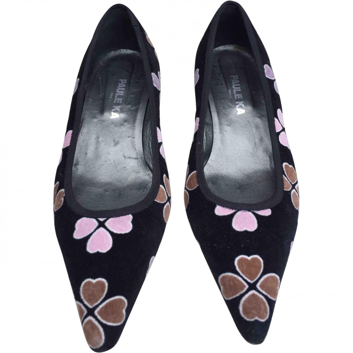 Paule Ka \N Black Velvet Heels for Women 37 EU