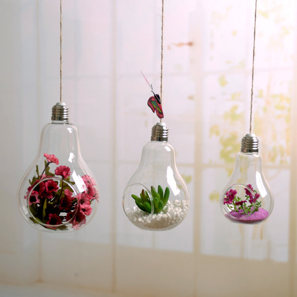 European Retro Bulb Shape Glass Vase Hanging Hydroponic Plant Flower Clear Container