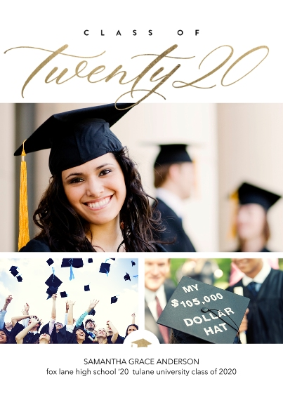 Graduation Announcements 5x7 Cards, Standard Cardstock 85lb, Card & Stationery -Class of Twenty 20 Script by Tumbalina