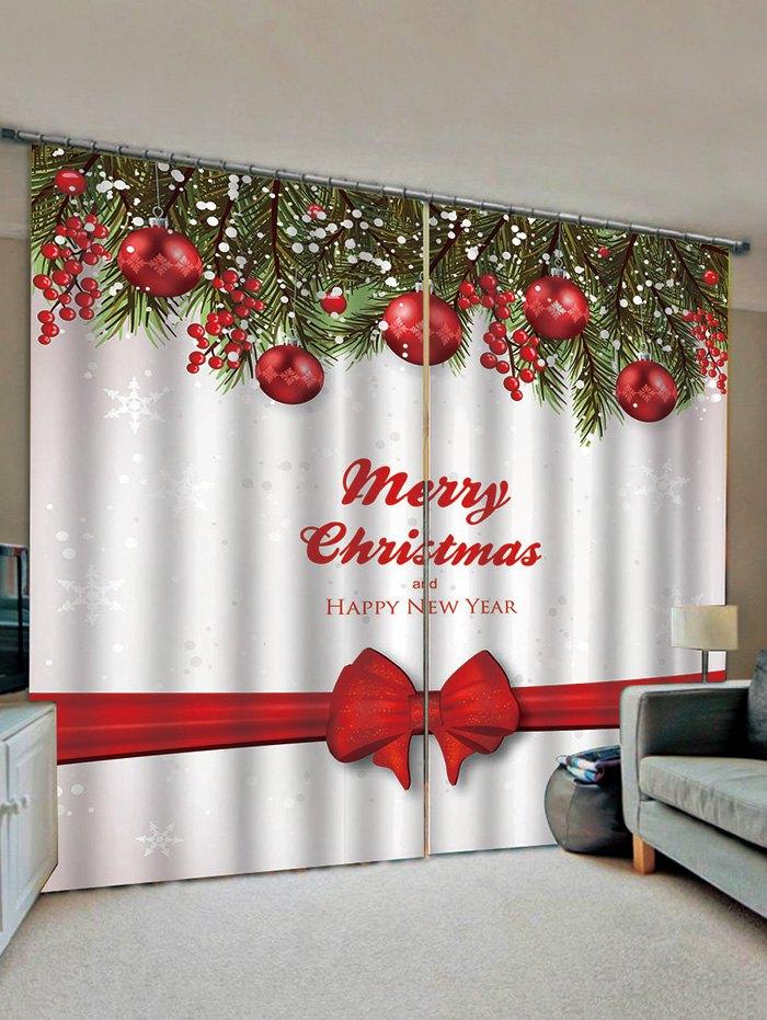2 Panels Christmas Tree Balls Bowknot Print Window Curtains