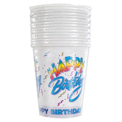 Happy Birthday II 9oz Paper Cups, 8ct Pour la fête d'anniversaire