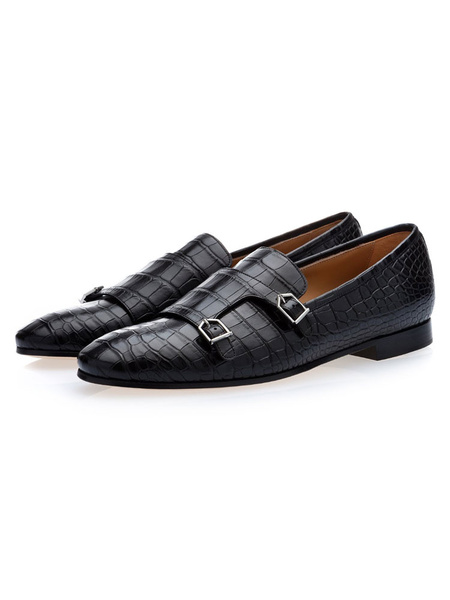 Milanoo Mens Black Monk Strap Dress Shoes Loafers Cowhide Prom Dress Shoes with Buckles