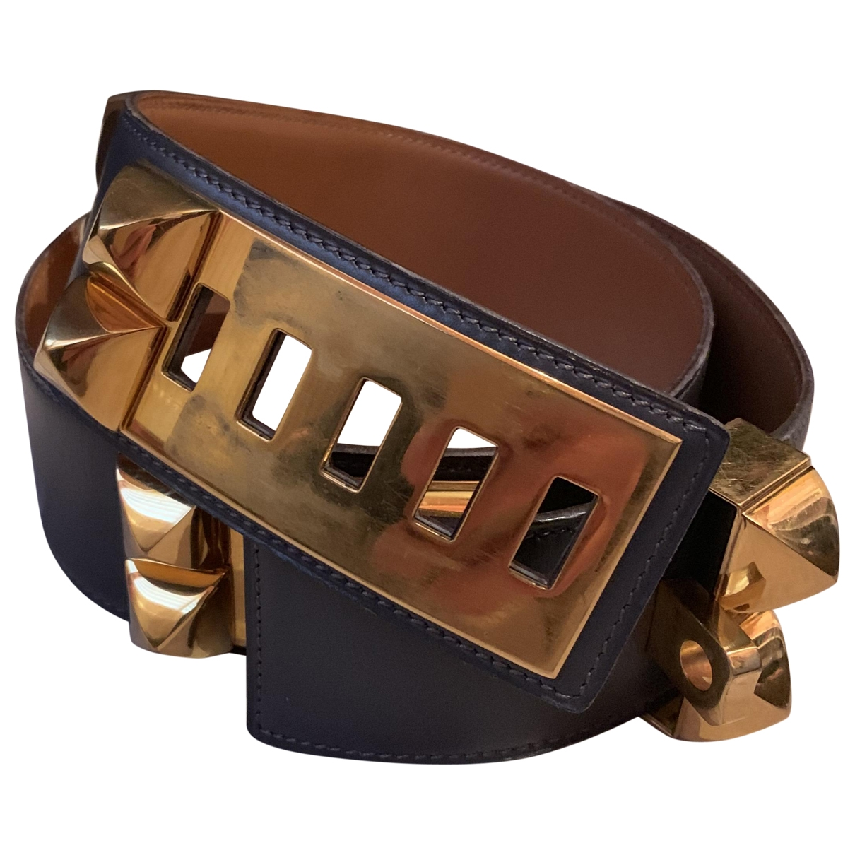 Hermès Collier de chien Anthracite Leather belt for Women 75 cm