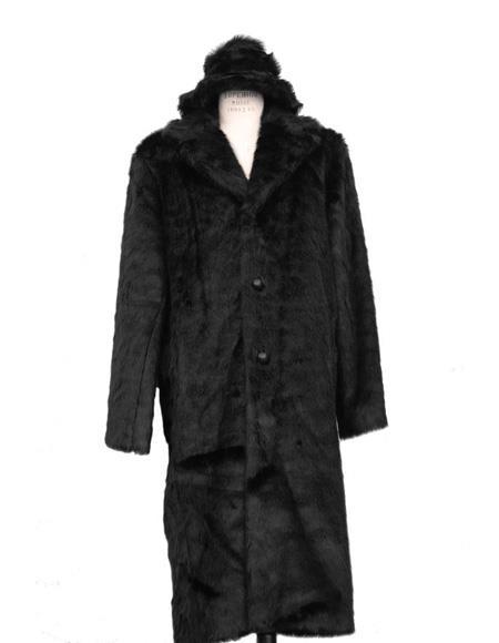 Long Length Faux Fur Coat Full Length Topcoat + Matching Hat Black