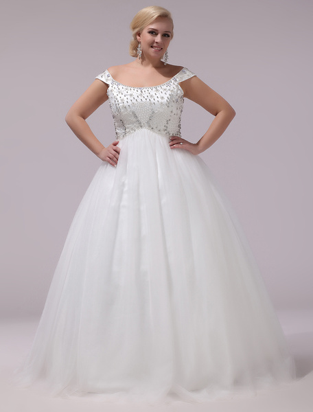 Milanoo Plus Size Wedding Dresses Tulle Rhinestones Beading Bridal Gown Off The Shoulder Sleeveless A Line Floor Length Bridal Dress