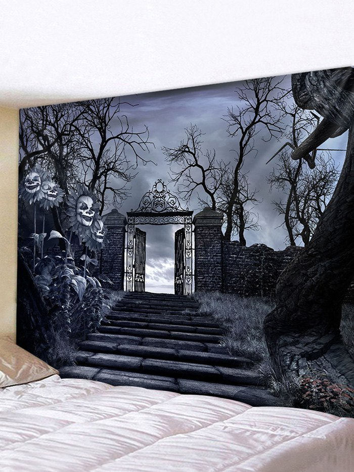 Halloween Night Trees Gate Print Tapestry Wall Hanging Art Decoration