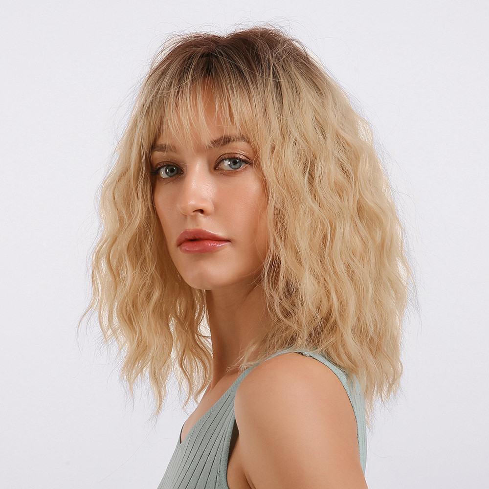 Water Wave Women Capless Synthetic Hair 130% 18 Inches Wigs Heat Resistant Natural Looking Daily Party Wigs Cosplay Wigs with Natural Bangs with Free