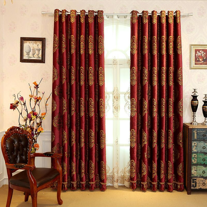 European Style Chenille Embroidery Black Out 2 Panels Burgundy Curtain Prevents UV Ray Machine Wash Accepted Curtains