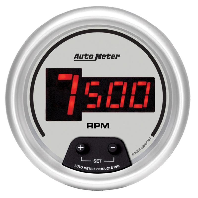 AutoMeter GAUGE; TACH; 3 3/8in.; 10K RPM; IN-DASH; DIGITAL; SILVER DIAL W/RED LED