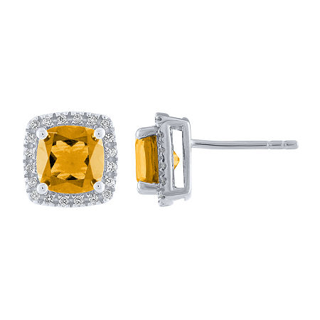 Genuine Yellow Citrine Sterling Silver 9.7mm Stud Earrings, One Size , No Color Family