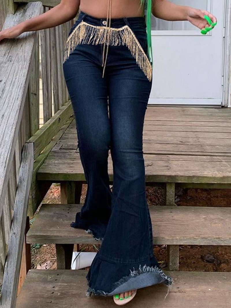 Ericdress Tassel Bellbottoms Color Block High Waist Slim Jeans