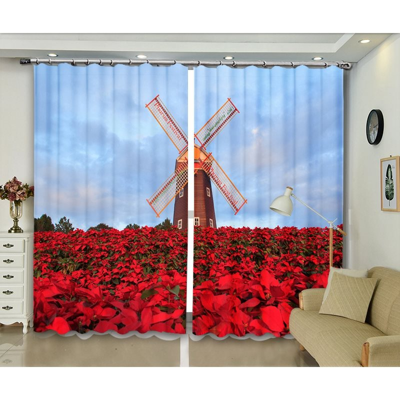 Blackout and Dust-proof Decorative 3D Floral Curtains for Living Room Bedroom