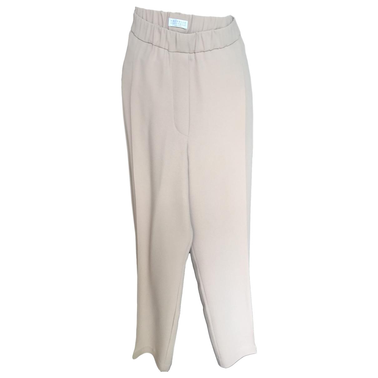 Brunello Cucinelli \N Beige Silk Trousers for Women 50-52 IT