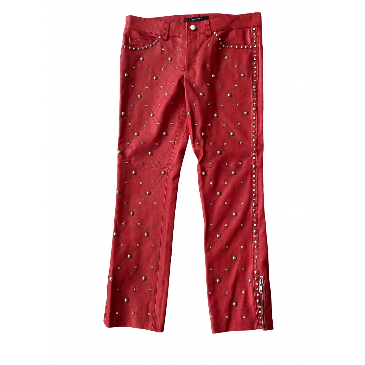 Isabel Marant \N Red Leather Trousers for Women 38 FR