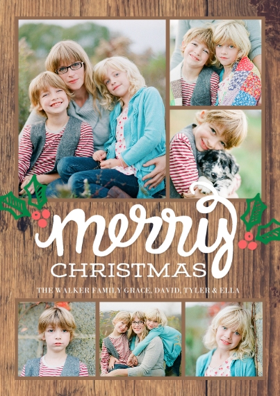 Christmas Photo Cards 5x7 Cards, Premium Cardstock 120lb with Scalloped Corners, Card & Stationery -Christmas Script Merry