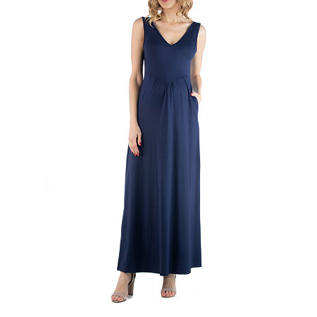 24/7 Comfort Apparel Maxi Sleeveless Dress with Pockets, Large , Blue