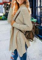 Pocket Irregular Long Sleeve Knitted Sweater Cardigan - Khaki
