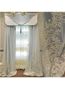 American Pastoral Romantic Sky Blue Decorative Custom Outside Sheer for Living Room