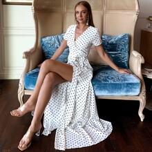 Wrap Tie Side Split Thigh Polka Dot Maxi Dress