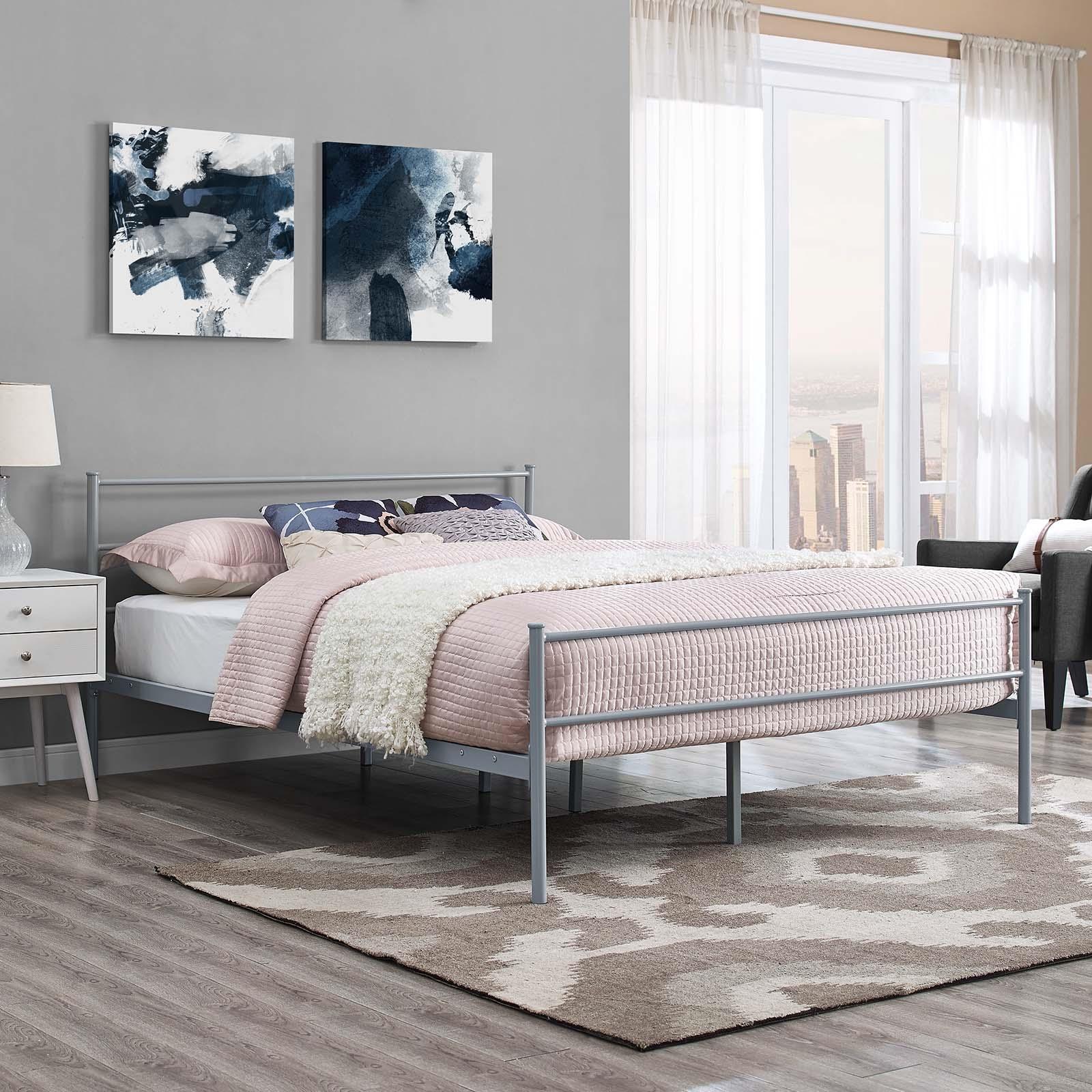 Alina Queen Platform Bed Frame in Gray