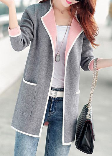 Rosewe Women Cardigan Grey Open Front Long Sleeve With Pockets - L
