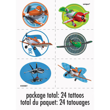 Planes 4 Tattoo Sheets/Favors For Birthday Party