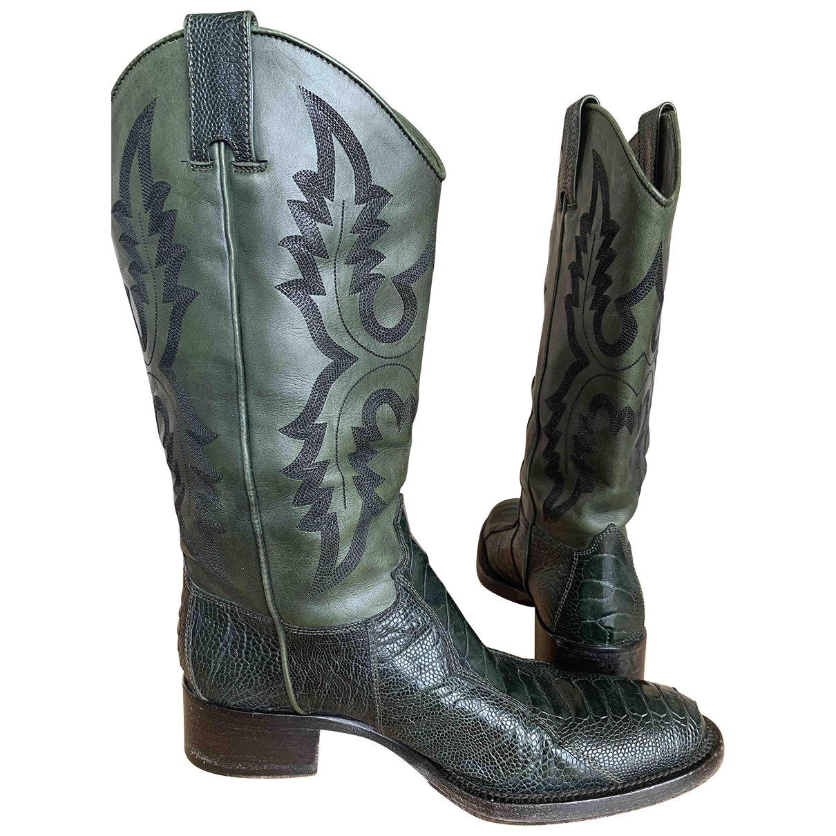 Sartore \N Green Leather Boots for Women 36.5 EU