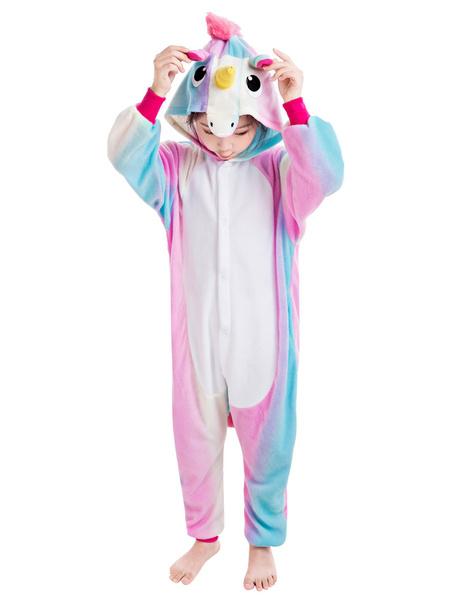 Milanoo Kids Kigurumi Pajamas Rainbow Unicorn Easy Toilet Flannel Winter Sleepwear Mascot Animal Halloween Costume